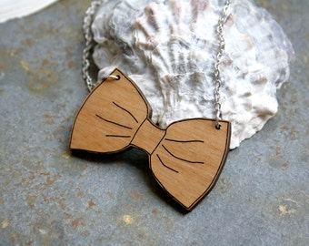Wooden women Bow tie necklace, wood jewel, unique accessory, cute feminine jewellery, natural and trendy gift for her, made in France Paris