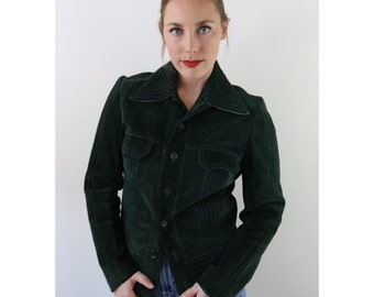 vtg 70's italian LUX deep FOREST green SUEDE leather tailored jacket