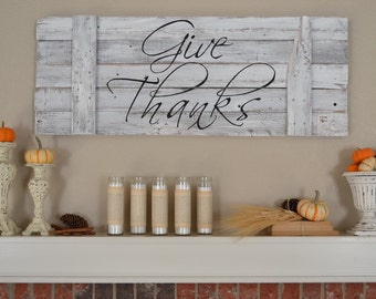 Give Thanks Wood Sign