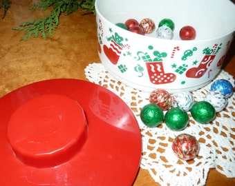 Christmas  Tupperware 1994 holiday delights candy dish