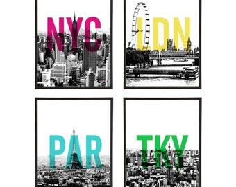 City Skylines Group of 4 Pop Art Prints MidCentury Modernism Architecture Cities New York London Paris Tokyo Graphic Design Art Print