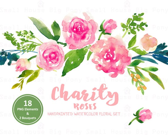 Digital Clipart- Watercolor Flower Clipart, pink roses Clip art, Floral Bouquet Clipart, wedding flowers clip art- Charity Roses
