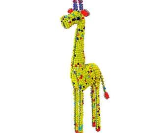 Collectible Beaded Giraffe Figurine - Wireworx wire and glass beaded animal