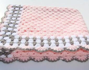 Pink Baby Blanket, Crochet Baby Blanket, Pink Crochet Afghan, Pink Baby Afghan, Pink Grey Blanket, Crochet Blanket, Handmade Blanket, Gift