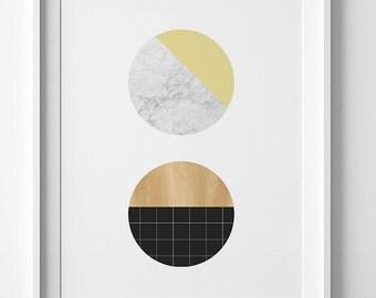 Marble printable art, gold prints, geometric art, gold circle print, wall art prints, downloadable prints, Scandinavian print, wall prints