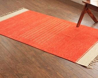 bunkar - Handmade  &  Reversible Cotton Rug - Rayon (Chenille) : Size 4ft x 6ft # 1435