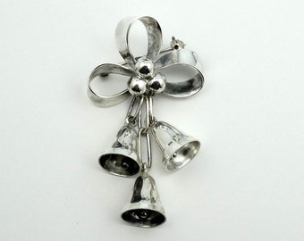 Silver Bells...It's Christmas Time In The City.  Sterling Silver Vintage Brooch  #SVBELLS-PN1