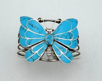 Bright Blue Butterfly Sterling Silver Vintage Cuff Bracelet  #BUTTERFLY-EPL1