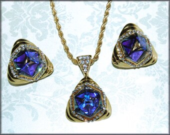Crystal Cube and Rhinestone Necklace and Clip back Earring Set