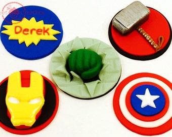 Fonndant edible Avengers Cupcake Toppers, Superhero, 3D Hulk, Captain America, 3D Thor Hammer and IronMan