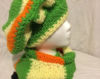 Light Yellow, Orange and Spring Green Infinity Scarf and Hat