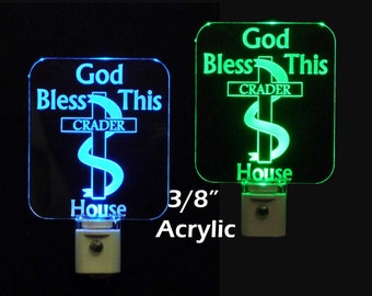 Personalized God Bless this House LED Christian Night Light - Religious Lamp