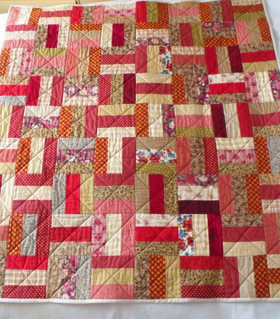 """quilted throw, patchwork quilt, sofa throw, duvet, quilted blanket, 48"""" x 53"""", rustic reds and beiges"""