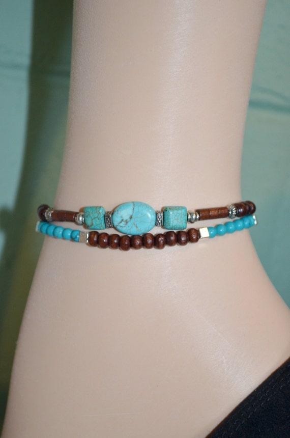 Anklet Bracelet Turquoise & Wood Beads, Turquoise Anklet, Wood Bead Anklet, 2 Strand Turquoise and Wood Bead Anklet, Southwestern Anklet