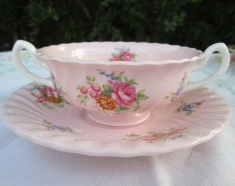 Minton Rosetta Footed Soup Bowl & Saucer Set