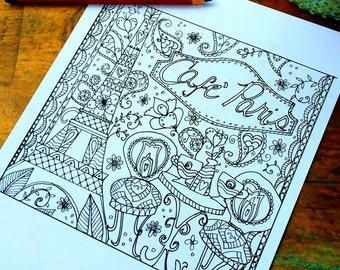 Cafe Paris Adult Coloring Page Eiffel Tower Floral Lisa Kaus