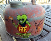Vintage Eagle Gas Can Rat Fink Molotov Cocktail Inspired Hand Pinstriping and Hand lettering Hot Rod Art