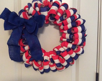 Patriotic Red, White & Blue Burlap Wreath