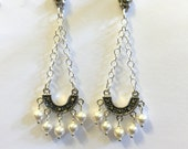 Mothers Day Gift, marcasite dangle chandelier earrings with sterling silver, bride, wedding, party. elegant earrings,