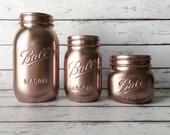 Rose Gold Jars - Makeup Brush Holder - Bathroom Storage - Rose Gold Decor - Rustic Home Decor - Rustic Wedding Centerpiece