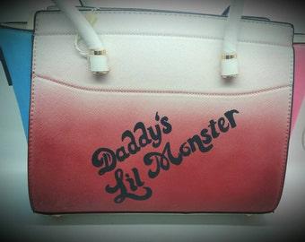 Harley quinn. Side squad. Daddy's lil monster. Bag. White bag. Handpainted bag