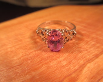 Delicate Sterling Silver Purple Gemstone Ring - 6.5
