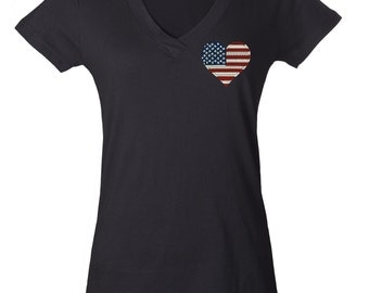 American Flag Heart Tee