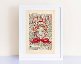 Emma by Jane Austen Print on an antique page, book cover art