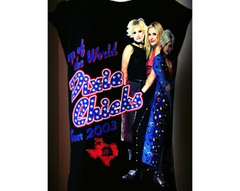Custom Vintage Distressed Blinged Dixie Chicks Tour 2003 Tshirt