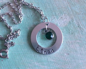 Hand Stamped necklace, mothers necklace, childrens name stamped