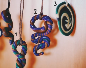 Unique polymer clay Fimo psychedelic hippie necklace