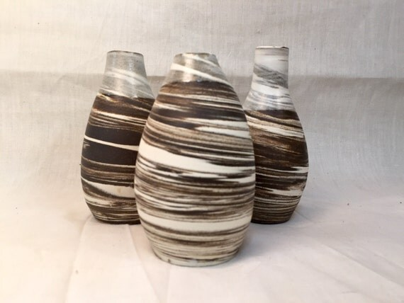 Modern ceramic bud vases in natural black and white swirled clay SET OF THREE