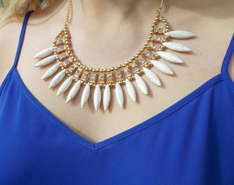 Cream Tribal Statement Necklace