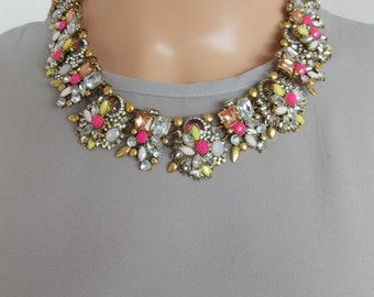 Neon Crystal Jewelled Collar Statement Necklace