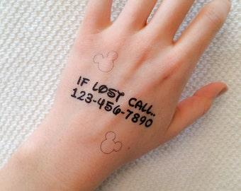 2 Emergency Contact Temporary Tattoos- GeekTat