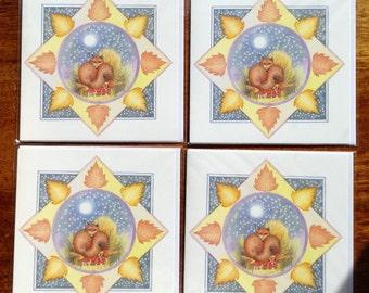 Set of four Fox cards