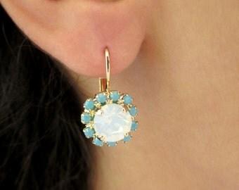 Opal Earrings, White Opal Earrings, Mint Earrings, Gold Opal Earrings, Leverback Earrings, Gold Leverback Earrings, Earrings Leverback