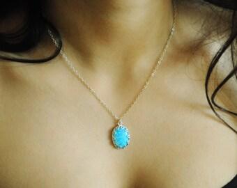 Blue Opal pendant. Opal necklace silver. Large Opal. Fire Blue opal. Opal Jewelry. Silver Opal Necklace. Opal ring Opal set. Girlfriend gift