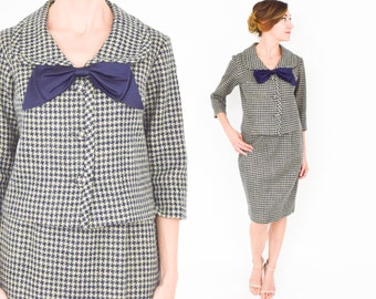 60s Navy Tan Houndstooth Wool Suit | Bow Jacket and Skirt | Parkshire Original,  Small