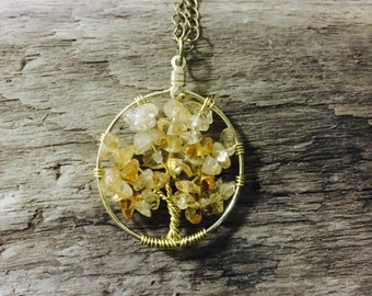 Citrine on Gold Tree of Life Pendant