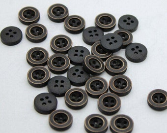 10 Natural Black Buttons - Black Wooden Four Holes Shirt Buttons ,11.5mm(0.45inch),M1