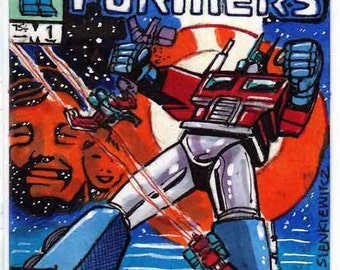 The Transformers Issue # 1 Cover Recreation Personal Sketch Card Original Artwork Unique Art Comics Gift Item