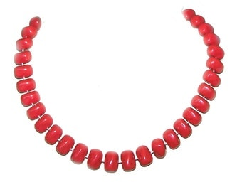 Red Necklace - Red Bead Necklace - Red Bead Strand - Red Coral - Chilli Pepper Red - Very Symmetrical