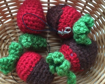 small crochet regular or chocolate covered strawberry!
