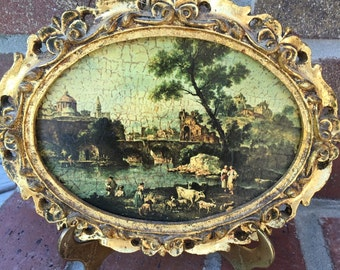 """Vintage 6 1/2"""" x 8 1/2 Oval wooden frame Made in Italy Victorian Scene Picture"""