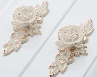 Shabby Chic Dresser Drawer Knobs Pulls Handles Creamy White Gold Rose Flower Kitchen Cabinet Knobs Pulls HandlesOrnate Knob Hardware Pulls