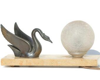 French Vintage  Art Deco Bronze Spelter  Marble  table Lamp ,Swan, Bird,Light