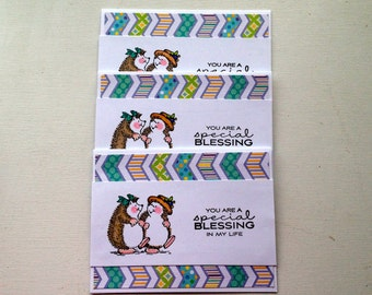 Encouraging note card set of 3, Blank note card set, Hedgehog notecard set, Friendship card set