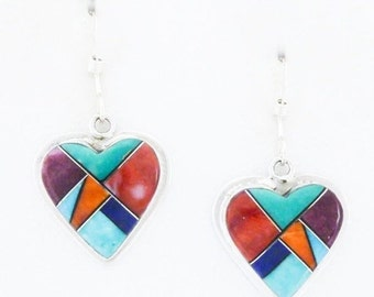 Southwestern Heart Earrings Sterling Silver Turquoise Spiny Oyster Signed and Free Shipping