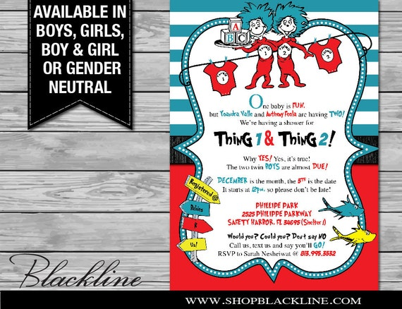 Thing 1 And Thing 2 Baby Shower Invite